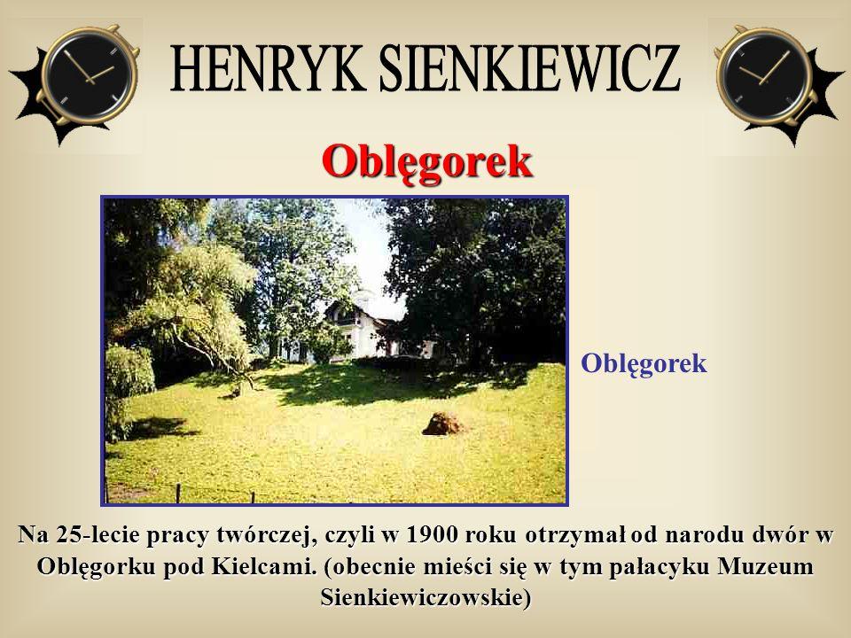 Oblęgorek Oblęgorek Na 25-lecie pracy twórczej, czyli w 1900 roku otrzymał od narodu dwór w Oblęgorku pod Kielcami. (obecnie mieści się w tym pałacyku