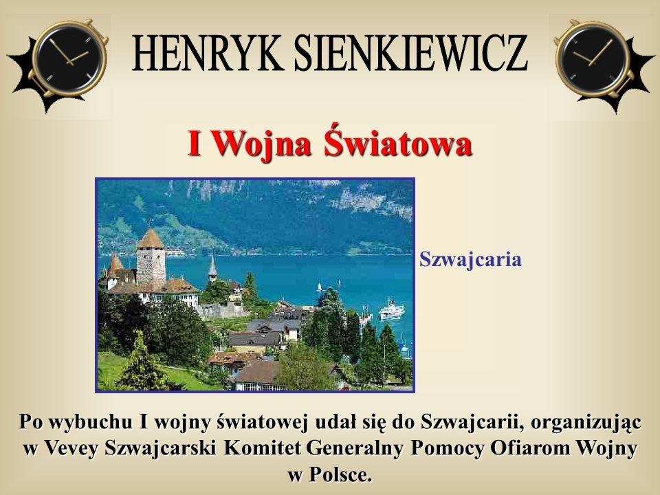 I Wojna Światowa Szwajcaria Po wybuchu I wojny światowej udał się do Szwajcarii, organizując w Vevey Szwajcarski Komitet Generalny Pomocy Ofiarom Wojn