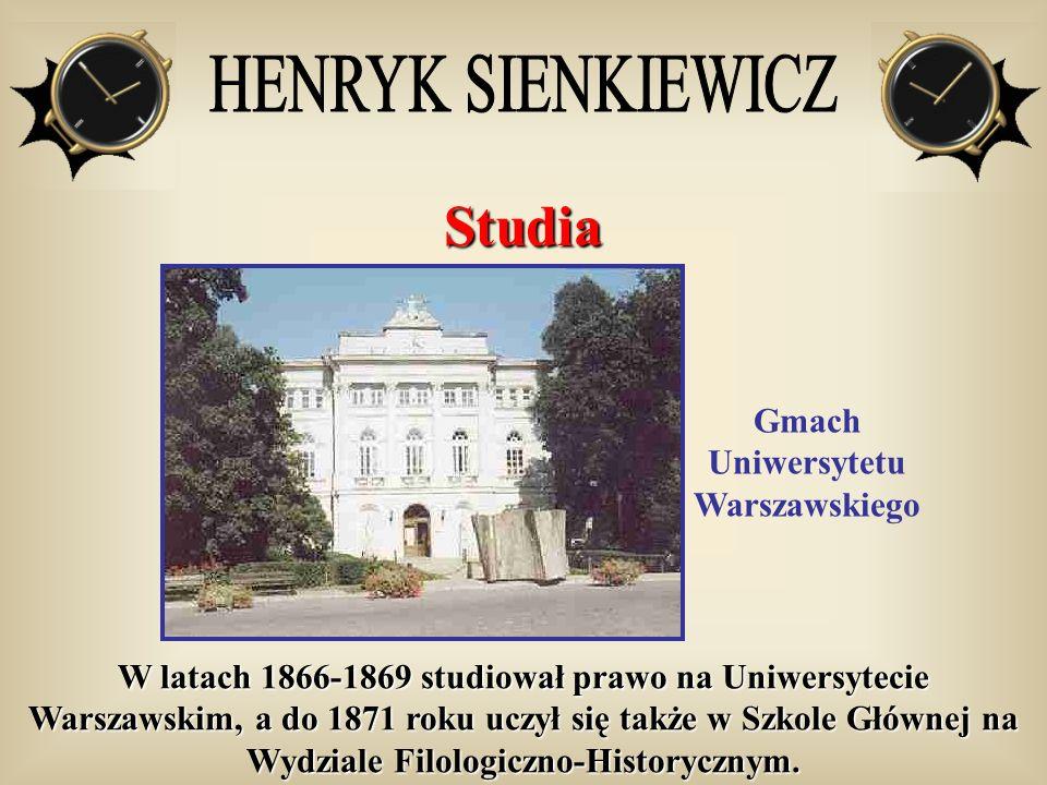 Studia Gmach Uniwersytetu Warszawskiego W latach 1866-1869 studiował prawo na Uniwersytecie Warszawskim, a do 1871 roku uczył się także w Szkole Główn