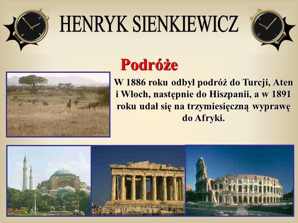 Podróże W 1886 roku odbył podróż do Turcji, Aten i Włoch, następnie do Hiszpanii, a w 1891 roku udał się na trzymiesięczną wyprawę do Afryki.