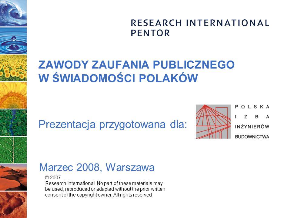 ZAWODY ZAUFANIA PUBLICZNEGO W ŚWIADOMOŚCI POLAKÓW Prezentacja przygotowana dla: Marzec 2008, Warszawa © 2007 Research International. No part of these