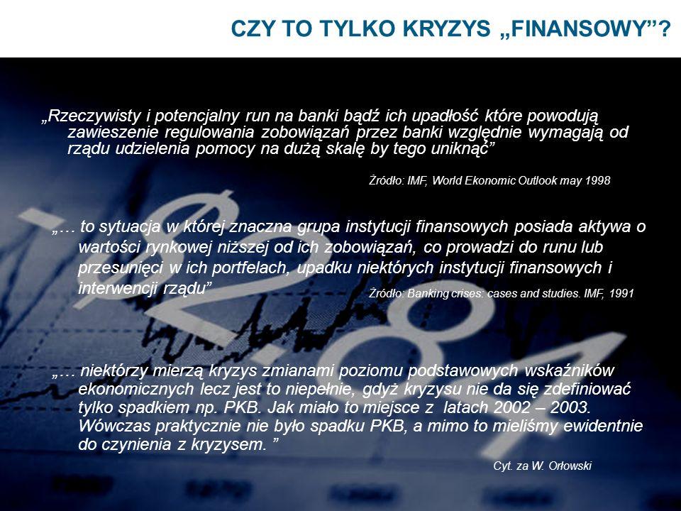 CZY TO TYLKO KRYZYS FINANSOWY? Rzeczywisty i potencjalny run na banki bądź ich upadłość które powodują zawieszenie regulowania zobowiązań przez banki