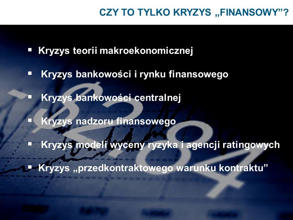 CZY TO TYLKO KRYZYS FINANSOWY? Kryzys teorii makroekonomicznej Kryzys bankowości i rynku finansowego Kryzys bankowości centralnej Kryzys nadzoru finan