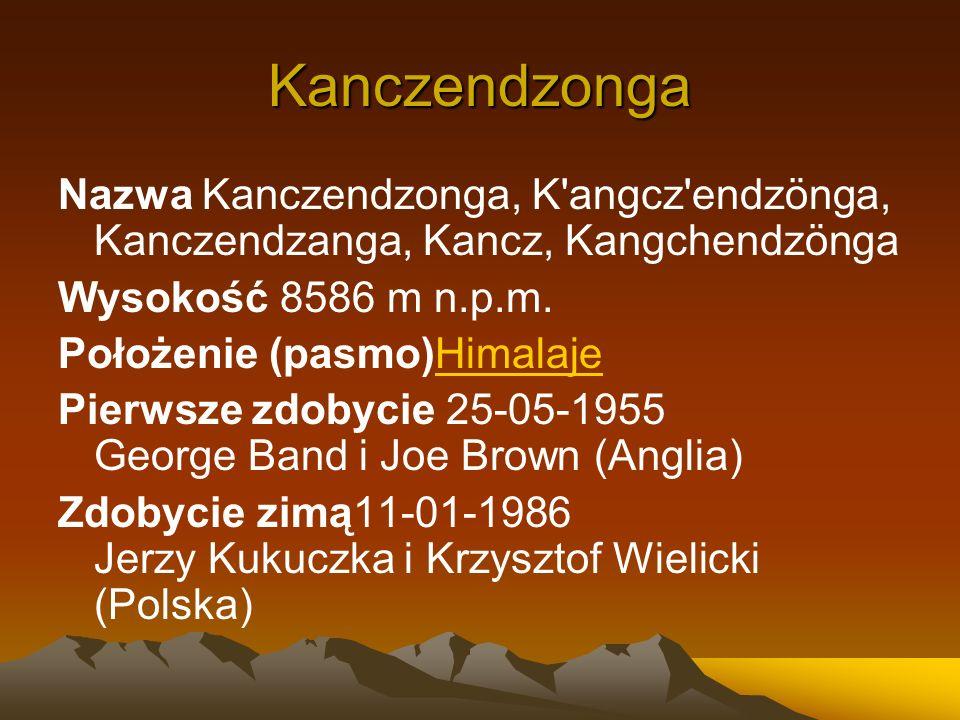 Kanczendzonga Nazwa Kanczendzonga, K'angcz'endzönga, Kanczendzanga, Kancz, Kangchendzönga Wysokość 8586 m n.p.m. Położenie (pasmo)HimalajeHimalaje Pie
