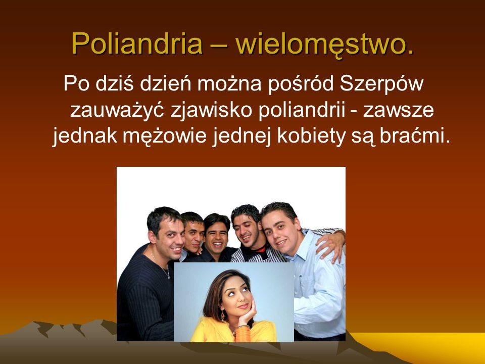 Poliandria – wielomęstwo. Po dziś dzień można pośród Szerpów zauważyć zjawisko poliandrii - zawsze jednak mężowie jednej kobiety są braćmi.