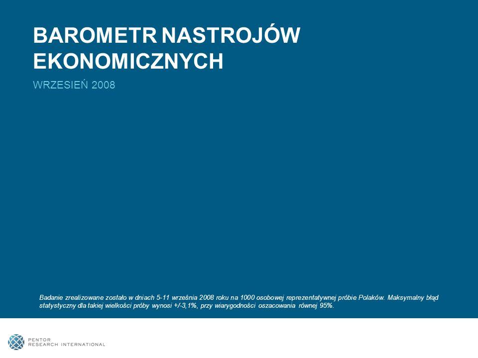 BAROMETR NASTROJÓW EKONOMICZNYCH WRZESIEŃ 2008 Badanie zrealizowane zostało w dniach 5-11 września 2008 roku na 1000 osobowej reprezentatywnej próbie