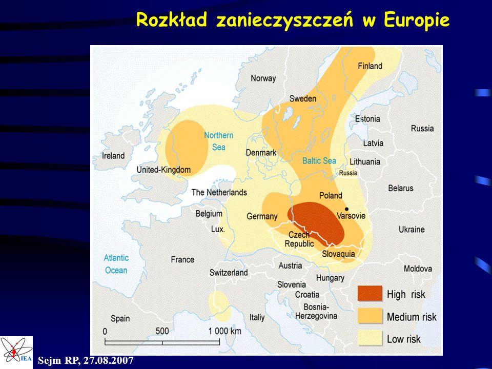 Sejm RP, 27.08.2007 Rozkład zanieczyszczeń w Europie