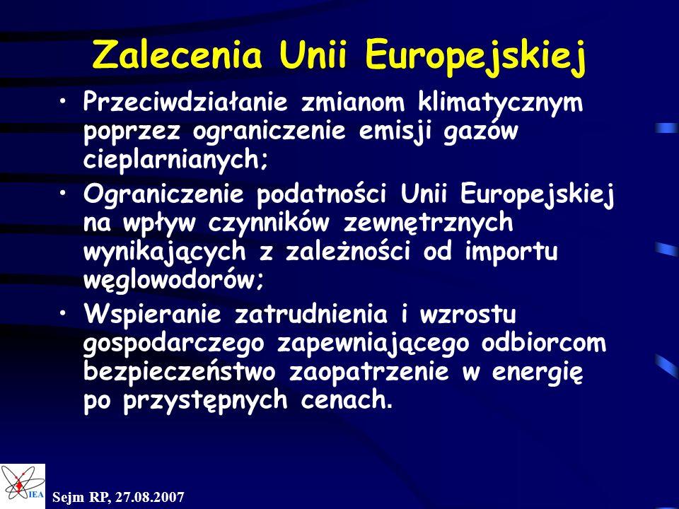 Sejm RP, 27.08.2007 Zalecenia Unii Europejskiej Przeciwdziałanie zmianom klimatycznym poprzez ograniczenie emisji gazów cieplarnianych; Ograniczenie p