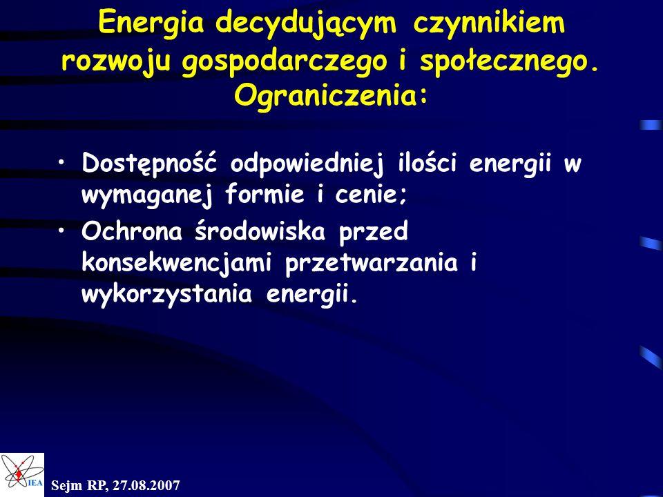 Sejm RP, 27.08.2007 Prognoza zapotrzebowania na surowce energetyczne w Polsce Rok2005 2010 2015 2020 2025 Energia elektryczna* TWh 146 168 192 226 271 Gaz, mld m 3 12,9 17,6 21,2 23,6 26,4 Ropa naftowa, mln ton 20,7 23,1 26,5 30,4 35,7 Źródło: Polityka energetyczna Polski do 2025 roku.