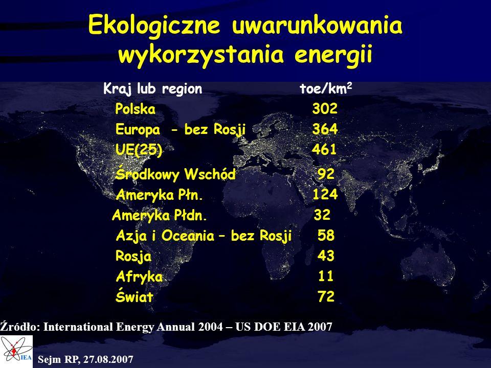 Ekologiczne uwarunkowania wykorzystania energii Kraj lub regiontoe/km 2 Polska302 Europa - bez Rosji364 UE(25)461 Środkowy Wschód 92 Ameryka Płn.124 A