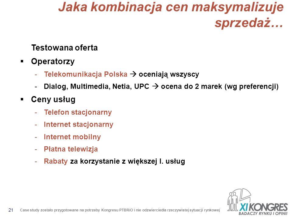 21 Case study zostało przygotowane na potrzeby Kongresu PTBRiO i nie odzwierciedla rzeczywistej sytuacji rynkowej Jaka kombinacja cen maksymalizuje sprzedaż… Testowana oferta Operatorzy -Telekomunikacja Polska oceniają wszyscy -Dialog, Multimedia, Netia, UPC ocena do 2 marek (wg preferencji) Ceny usług -Telefon stacjonarny -Internet stacjonarny -Internet mobilny -Płatna telewizja -Rabaty za korzystanie z większej l.