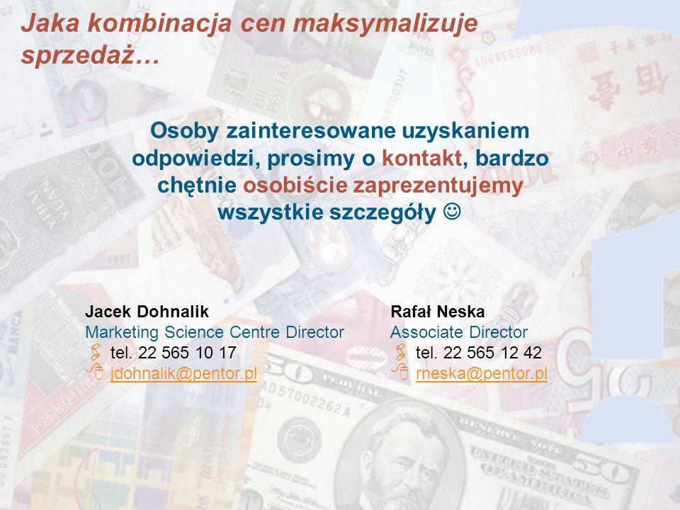 22 Osoby zainteresowane uzyskaniem odpowiedzi, prosimy o kontakt, bardzo chętnie osobiście zaprezentujemy wszystkie szczegóły Jacek Dohnalik Marketing Science Centre Director tel.