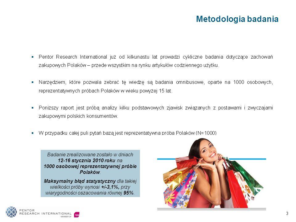 Metodologia badania 3 Badanie zrealizowane zostało w dniach 12-16 stycznia 2010 roku na 1000 osobowej reprezentatywnej próbie Polaków.