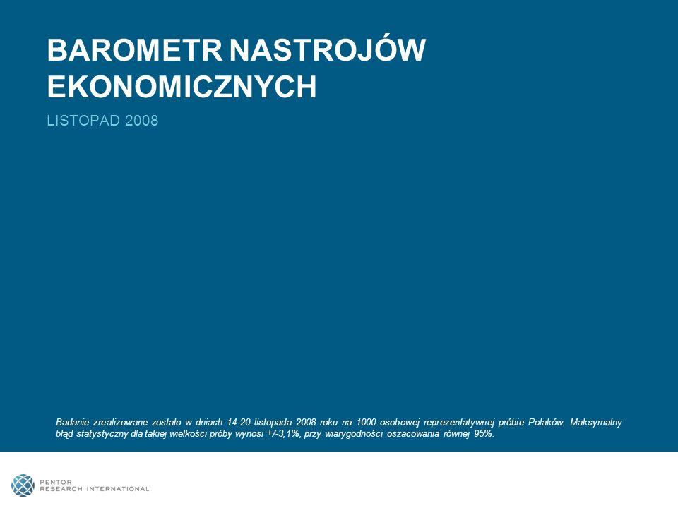 BAROMETR NASTROJÓW EKONOMICZNYCH LISTOPAD 2008 Badanie zrealizowane zostało w dniach 14-20 listopada 2008 roku na 1000 osobowej reprezentatywnej próbie Polaków.