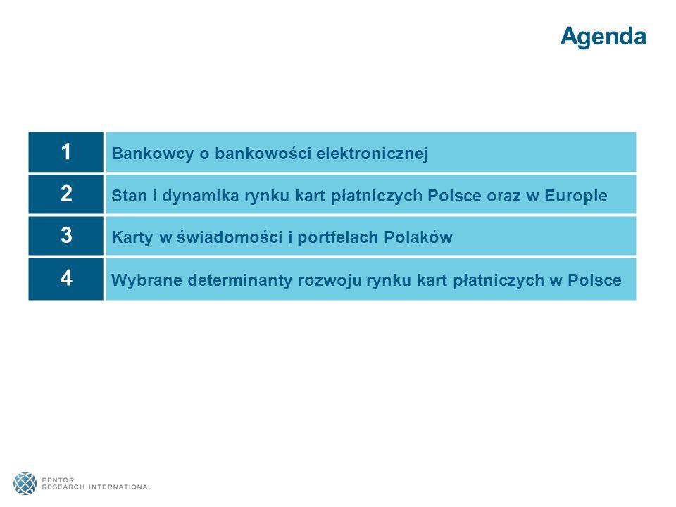 Agenda 1 Bankowcy o bankowości elektronicznej 2 Stan i dynamika rynku kart płatniczych Polsce oraz w Europie 3 Karty w świadomości i portfelach Polakó