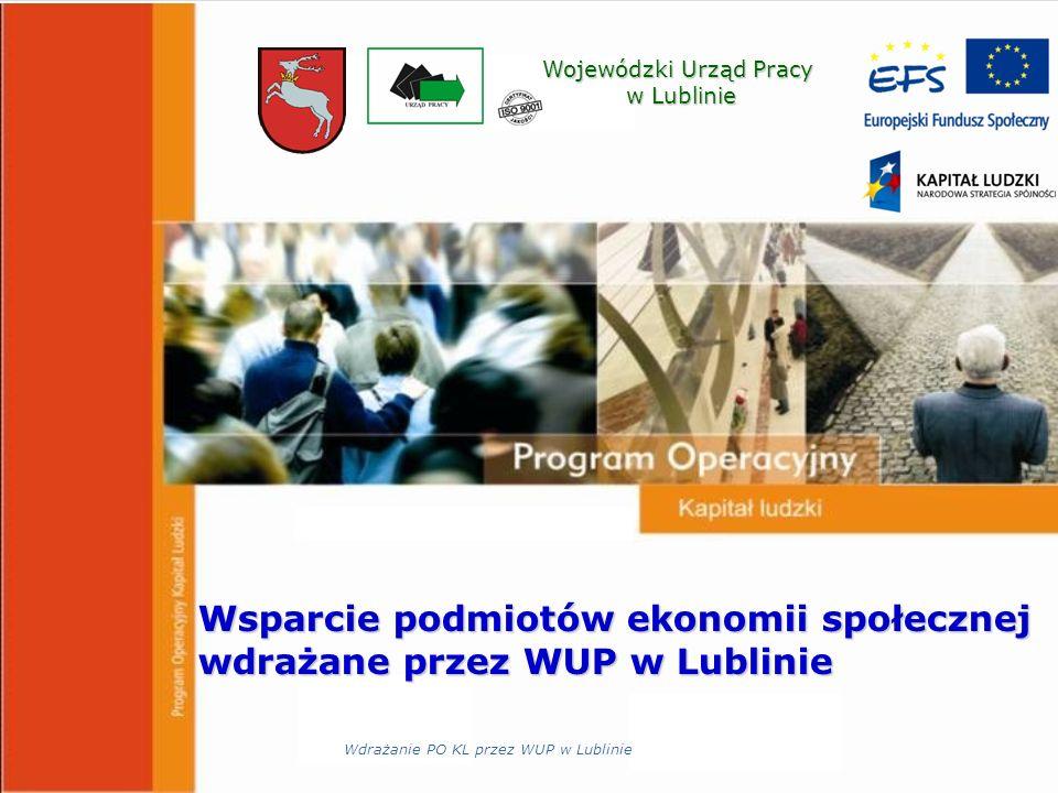 Wojewódzki Urząd Pracy w Lublinie w Lublinie Wsparcie podmiotów ekonomii społecznej wdrażane przez WUP w Lublinie Wdrażanie PO KL przez WUP w Lublinie