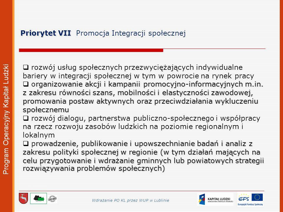 Program Operacyjny Kapitał Ludzki Priorytet VII Priorytet VII Promocja Integracji społecznej Wdrażanie PO KL przez WUP w Lublinie rozwój usług społecznych przezwyciężających indywidualne bariery w integracji społecznej w tym w powrocie na rynek pracy rganizowanie akcji i kampanii promocyjno-informacyjnych m.in.