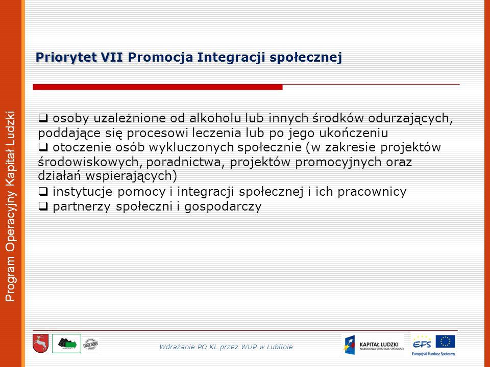 Program Operacyjny Kapitał Ludzki Priorytet VII Priorytet VII Promocja Integracji społecznej Wdrażanie PO KL przez WUP w Lublinie osoby uzależnione od alkoholu lub innych środków odurzających, poddające się procesowi leczenia lub po jego ukończeniu otoczenie osób wykluczonych społecznie (w zakresie projektów środowiskowych, poradnictwa, projektów promocyjnych oraz działań wspierających) instytucje pomocy i integracji społecznej i ich pracownicy partnerzy społeczni i gospodarczy
