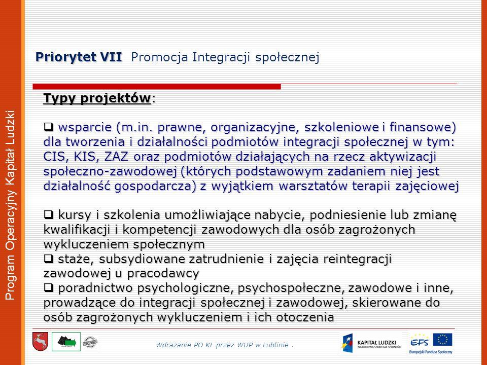 Program Operacyjny Kapitał Ludzki Priorytet VII Priorytet VII Promocja Integracji społecznej Wdrażanie PO KL przez WUP w Lublinie.