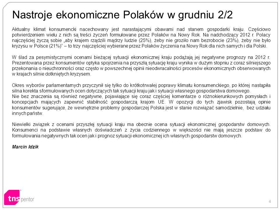 4 Nastroje ekonomiczne Polaków w grudniu 2/2 Aktualny klimat konsumencki nacechowany jest narastającymi obawami nad stanem gospodarki kraju.