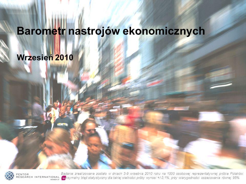 Wrzesień 2010 Barometr nastrojów ekonomicznych Badanie zrealizowane zostało w dniach 3-9 września 2010 roku na 1000 osobowej reprezentatywnej próbie P