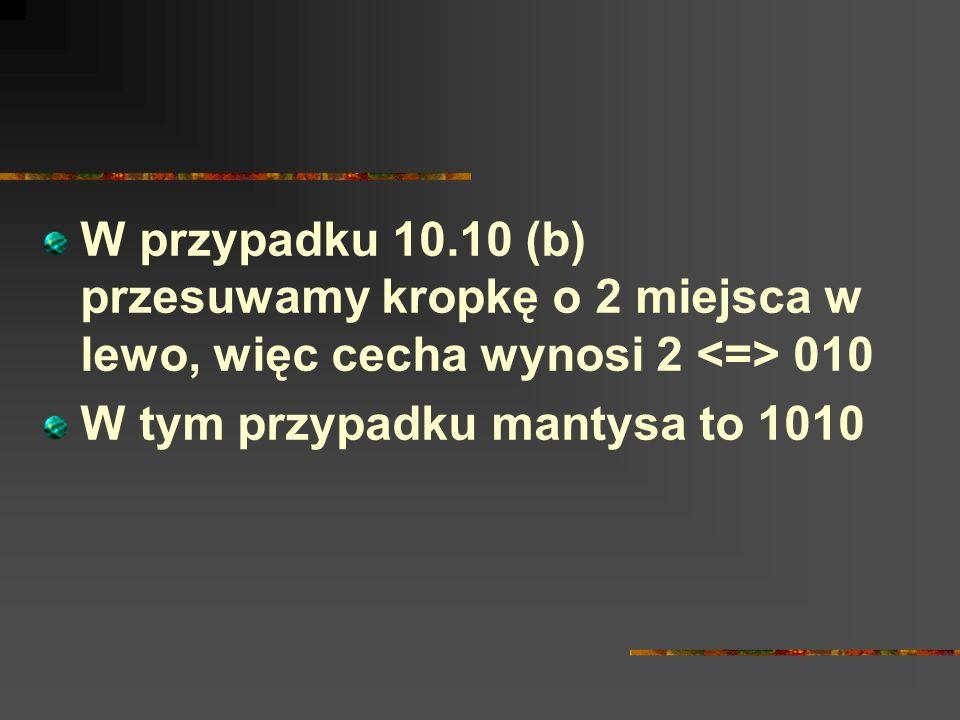 W przypadku 10.10 (b) przesuwamy kropkę o 2 miejsca w lewo, więc cecha wynosi 2 010 W tym przypadku mantysa to 1010