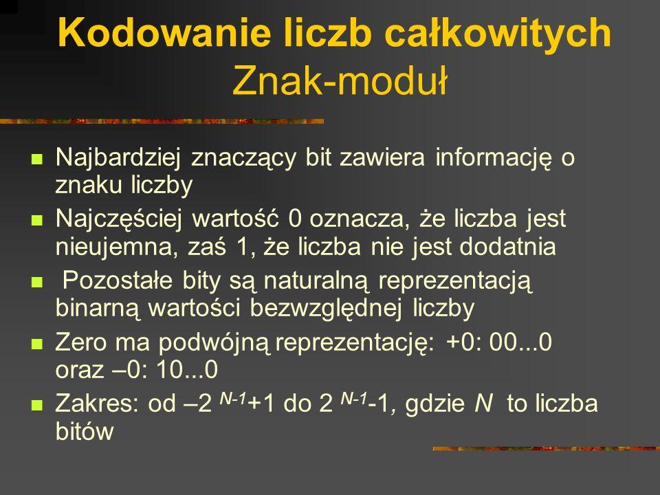 Kodowanie liczb całkowitych Znak-moduł Najbardziej znaczący bit zawiera informację o znaku liczby Najczęściej wartość 0 oznacza, że liczba jest nieuje
