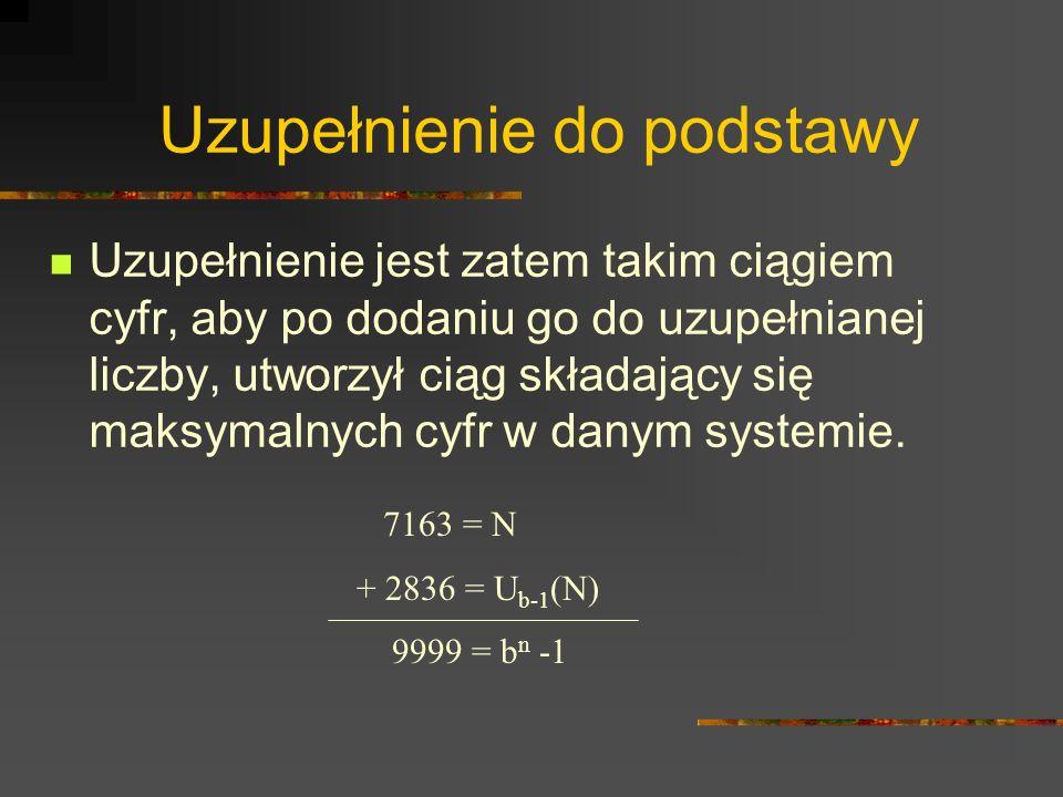 Uzupełnienie do podstawy Uzupełnienie jest zatem takim ciągiem cyfr, aby po dodaniu go do uzupełnianej liczby, utworzył ciąg składający się maksymalny