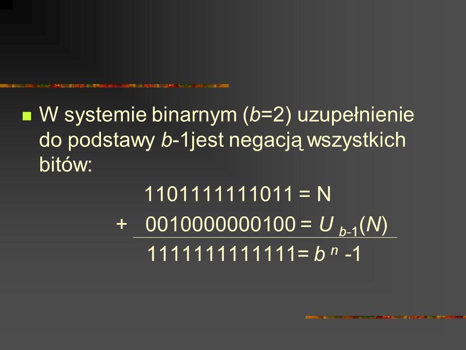W systemie binarnym (b=2) uzupełnienie do podstawy b-1jest negacją wszystkich bitów: 1101111111011 = N + 0010000000100 = U b-1 (N) 1111111111111= b n