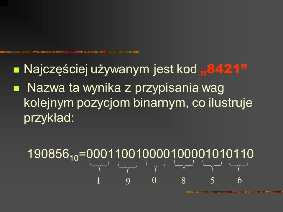Najczęściej używanym jest kod 8421 Nazwa ta wynika z przypisania wag kolejnym pozycjom binarnym, co ilustruje przykład: 190856 10 =0001100100001000010