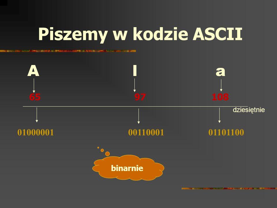 Piszemy w kodzie ASCII A l a 65 97 108 dziesiętnie binarnie 01000001 00110001 01101100