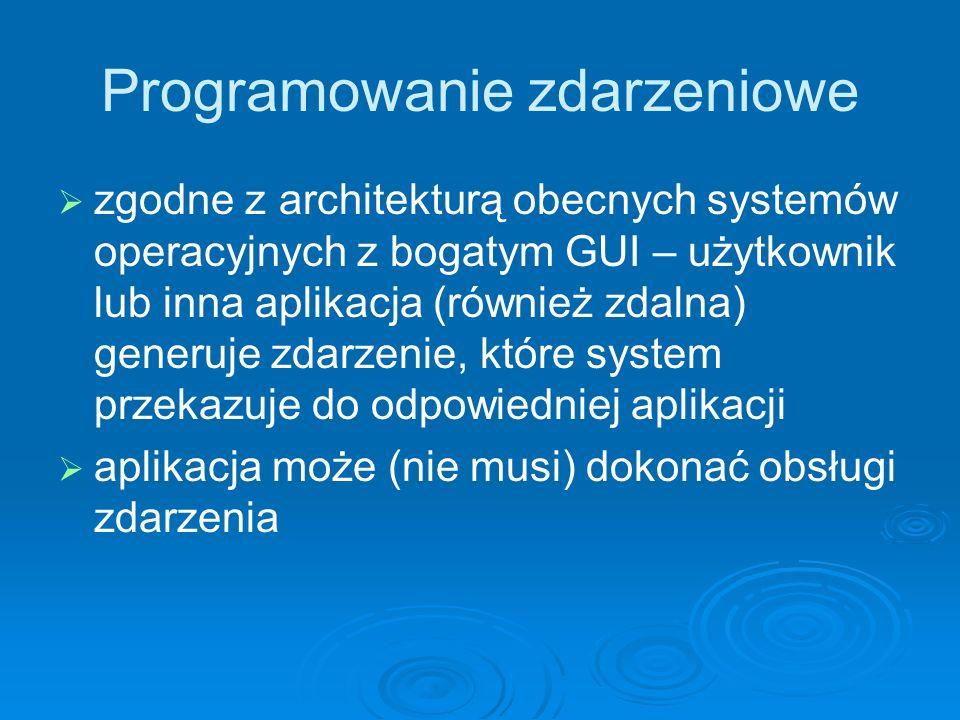 Programowanie zdarzeniowe zgodne z architekturą obecnych systemów operacyjnych z bogatym GUI – użytkownik lub inna aplikacja (również zdalna) generuje