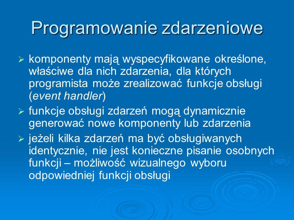 Programowanie zdarzeniowe komponenty mają wyspecyfikowane określone, właściwe dla nich zdarzenia, dla których programista może zrealizować funkcje obs