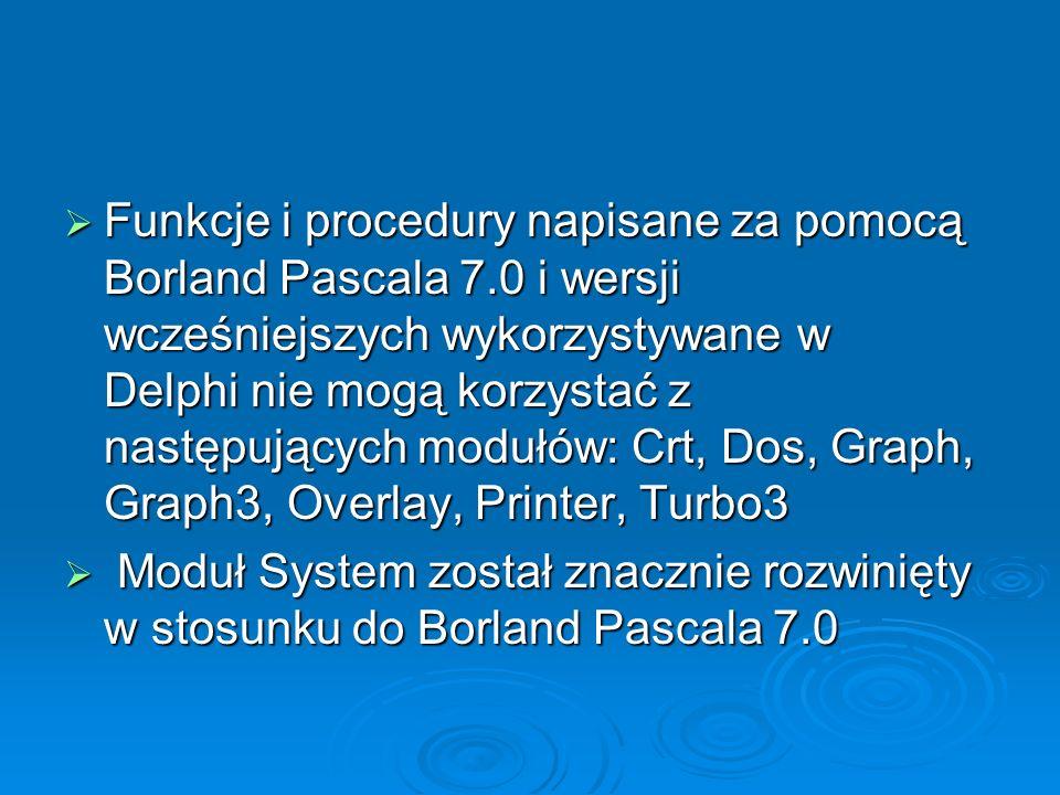Funkcje i procedury napisane za pomocą Borland Pascala 7.0 i wersji wcześniejszych wykorzystywane w Delphi nie mogą korzystać z następujących modułów: