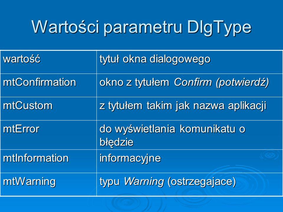 Wartości parametru DlgType wartość tytuł okna dialogowego mtConfirmation okno z tytułem Confirm (potwierdź) mtCustom z tytułem takim jak nazwa aplikac