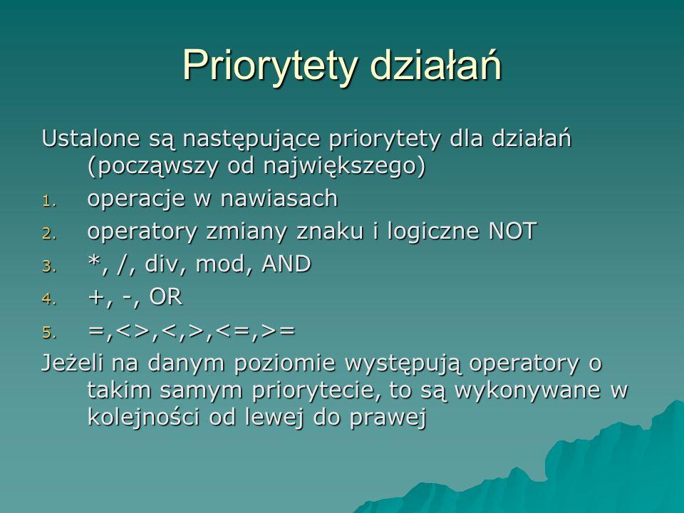 Priorytety działań Ustalone są następujące priorytety dla działań (począwszy od największego) 1.