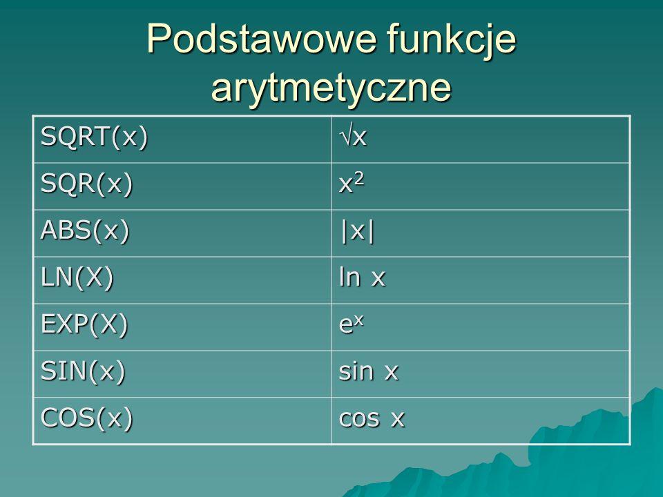 Podstawowe funkcje arytmetyczne SQRT(x) x SQR(x) x2x2x2x2 ABS(x)|x| LN(X) ln x EXP(X) exexexex SIN(x) sin x COS(x) cos x