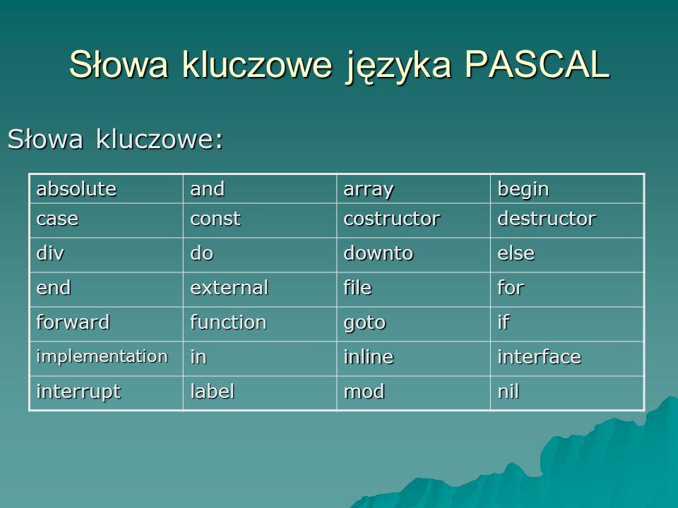 Pozostałe typy porządkowe typ logiczny BOOLEAN, wartości TRUE oraz FALSE typ logiczny BOOLEAN, wartości TRUE oraz FALSE typ znakowy CHAR elementami są znaki ASCII typ znakowy CHAR elementami są znaki ASCII