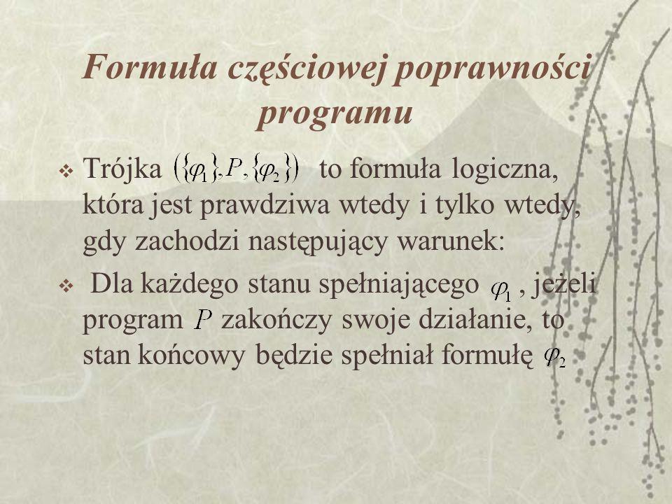 Formuła częściowej poprawności programu Trójka to formuła logiczna, która jest prawdziwa wtedy i tylko wtedy, gdy zachodzi następujący warunek: Dla ka