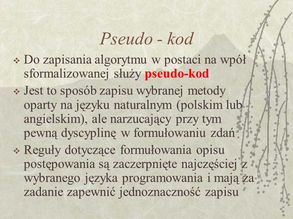 Pseudo - kod Do zapisania algorytmu w postaci na wpół sformalizowanej służy pseudo-kod Jest to sposób zapisu wybranej metody oparty na języku naturaln