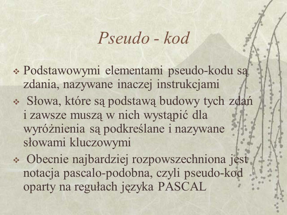Pseudo - kod Podstawowymi elementami pseudo-kodu są zdania, nazywane inaczej instrukcjami Słowa, które są podstawą budowy tych zdań i zawsze muszą w n