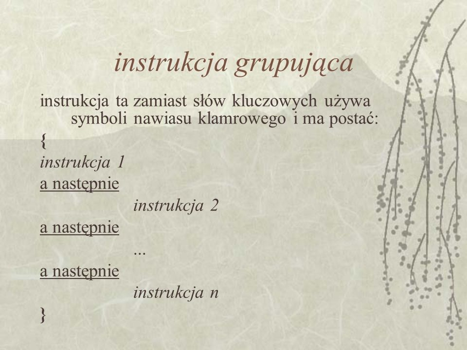 instrukcja grupująca instrukcja ta zamiast słów kluczowych używa symboli nawiasu klamrowego i ma postać: { instrukcja 1 a następnie instrukcja 2 a nas