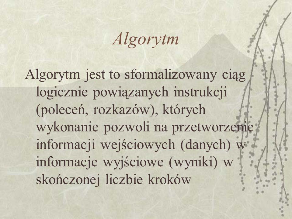 Algorytm Algorytm jest to sformalizowany ciąg logicznie powiązanych instrukcji (poleceń, rozkazów), których wykonanie pozwoli na przetworzenie informa