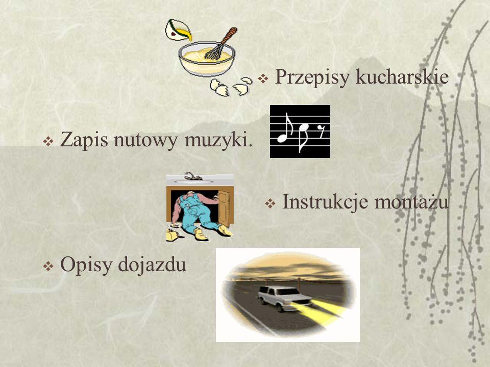 Przepisy kucharskie Zapis nutowy muzyki. Instrukcje montażu Opisy dojazdu