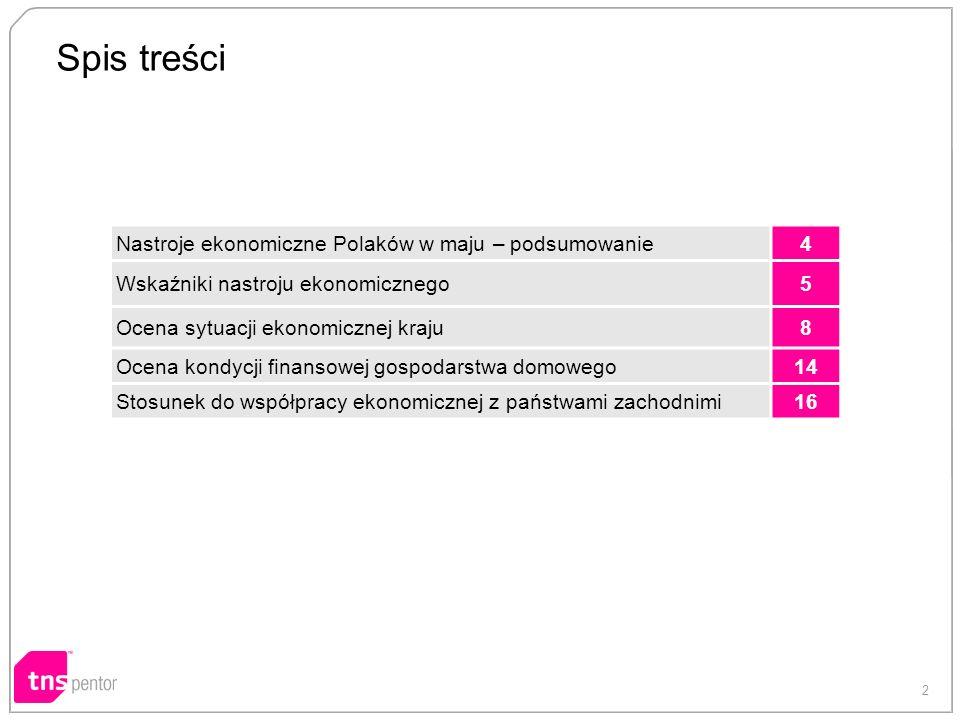 2 Spis treści Nastroje ekonomiczne Polaków w maju – podsumowanie4 Wskaźniki nastroju ekonomicznego5 Ocena sytuacji ekonomicznej kraju8 Ocena kondycji finansowej gospodarstwa domowego14 Stosunek do współpracy ekonomicznej z państwami zachodnimi16