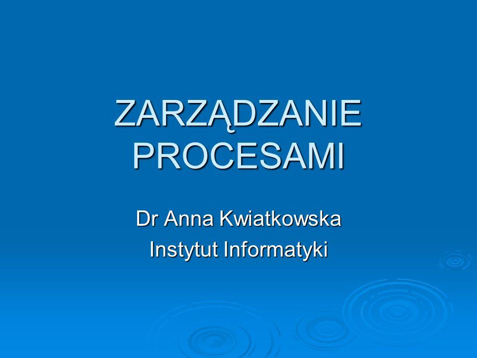 Procesy Procesem jest program umieszczony w pamięci komputera i wykonywany pod nadzorem systemu operacyjnego Procesem jest program umieszczony w pamięci komputera i wykonywany pod nadzorem systemu operacyjnego Proces jest ciągiem czynności, zaś program jest ciągiem instrukcji Proces jest ciągiem czynności, zaś program jest ciągiem instrukcji Sam program nie jest procesem, gdyż jest obiektem pasywnym Sam program nie jest procesem, gdyż jest obiektem pasywnym Proces jest obiektem aktywnym z licznikiem rozkazów wskazującym następny rozkaz do wykonania oraz ze zbiorem przydzielonych mu zasobów Proces jest obiektem aktywnym z licznikiem rozkazów wskazującym następny rozkaz do wykonania oraz ze zbiorem przydzielonych mu zasobów
