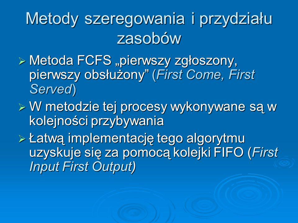 Metody szeregowania i przydziału zasobów Metoda FCFS pierwszy zgłoszony, pierwszy obsłużony (First Come, First Served) Metoda FCFS pierwszy zgłoszony,