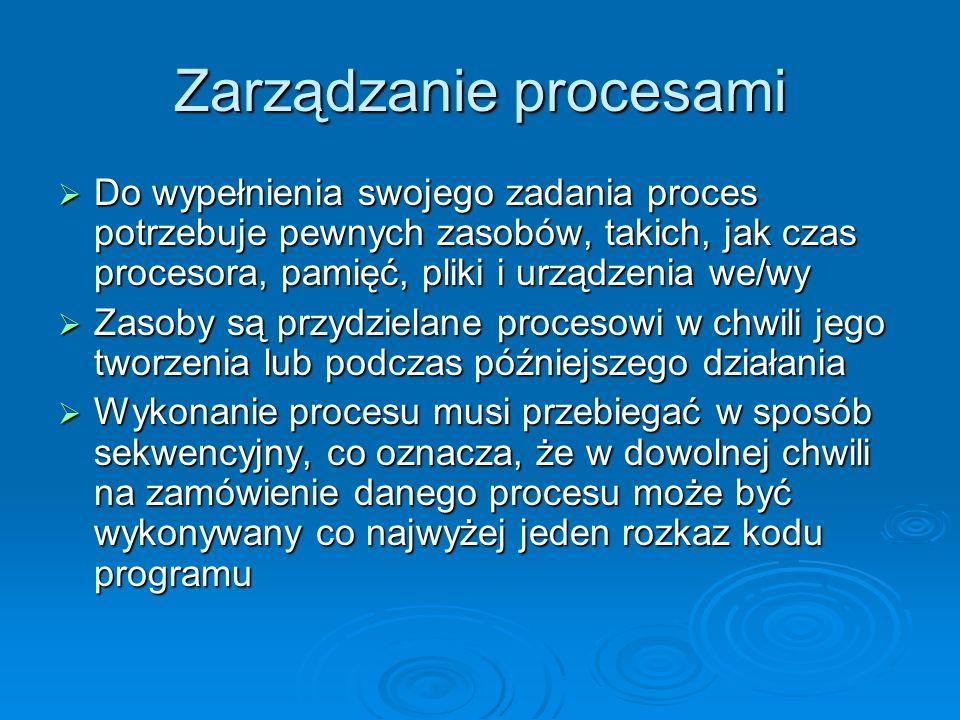 Zarządzanie procesami System operacyjny odpowiada za następujące działania dotyczące zarządzania procesami: tworzenie i usuwanie zarówno procesów użytkownika, jak i procesów systemowych tworzenie i usuwanie zarówno procesów użytkownika, jak i procesów systemowych planowanie porządku wykonywania procesów planowanie porządku wykonywania procesów mechanizmy synchronizacji mechanizmy synchronizacji komunikacji komunikacji usuwanie zakleszczeń procesów usuwanie zakleszczeń procesów