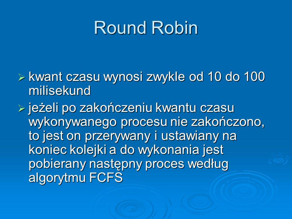 Round Robin kwant czasu wynosi zwykle od 10 do 100 milisekund kwant czasu wynosi zwykle od 10 do 100 milisekund jeżeli po zakończeniu kwantu czasu wyk