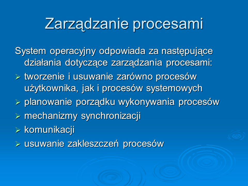Stany procesów Wykonujący się proces zmienia swój stan Wykonujący się proces zmienia swój stan Każdy proces może znajdować się w jednym z następujących stanów: Każdy proces może znajdować się w jednym z następujących stanów: nowy (proces został utworzony) nowy (proces został utworzony) aktywny (są wykonywane instrukcje programu) aktywny (są wykonywane instrukcje programu) oczekiwanie (proces czeka na jakieś zdarzenie) oczekiwanie (proces czeka na jakieś zdarzenie) gotowy (proces czeka na przydział procesora) gotowy (proces czeka na przydział procesora) zakończony (proces zakończył działanie) zakończony (proces zakończył działanie)